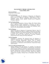 Course Outline-Management Theory-Handout