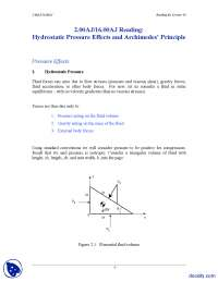 Hydrostatic Pressure Effects and Archimedes' Principle-Fundamentals of Design and Environment-Handout
