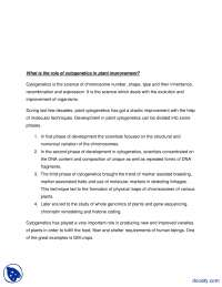 Role of Cytogenetics In Plant Improvement-Theory of Evolution and Darwinism-Assignment Solution