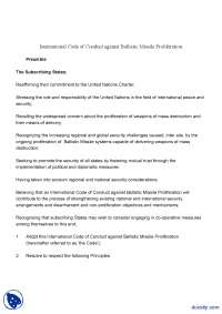 International Code of Conduct Against Ballistic Missile Proliferation-Ballistic Missile-Handout