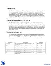 Procurement Management Plan Example-Engineering Project Management-Handout