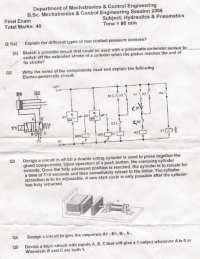 Hydraulics and Pneumatics-Hydraluics-Final Exam Paper