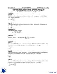 Sequences and Series-Calculus for Engineers-Assignment
