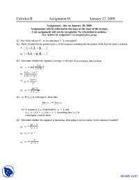 Series Convergence and Divergence 1-Calculus for Engineers-Assignment