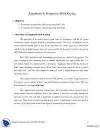 Amplitude and Frequency Shift Keying-Digital Communications-Lab Handout