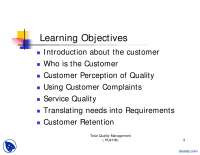 Customer Satisfaction-Total Quality Management-Lecture Slides