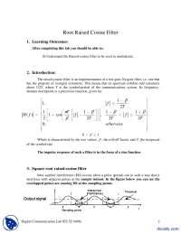 Root Raised Cosine Filter-Digital Communications-Lab Handout
