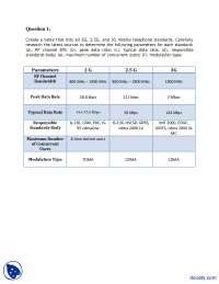 Parameters of 2G and 3G Systems-Wireless Communication Systems-Assignment