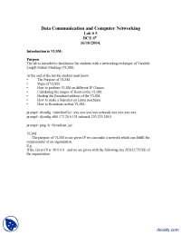 Introduction to VLSM-Computer Networks-Lab Handout