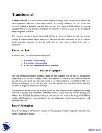 Transformer-Electric Machines-Lecture Handout