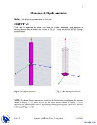 Monopole and Dipole Antennas-Antenna Design and Theory-Lab Mannual