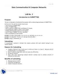 Introduction to Subnetting 2-Networking and Computer Networks-Lab Handout