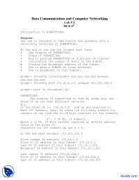 Introduction to Subnetting-Computer Networks-Lab Handout, Exercises for Data Communication Systems and Computer Networks