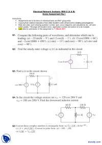 Circuits-Electrical Network Analysis-Assignment