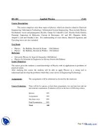 Course Description--Applied Physics-Course Outline