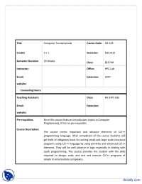 Course Outline-Computer Fundamentals-Course Description