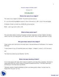 Introduction-Islamic Studies-Lecture Handout