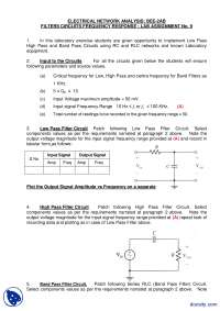 Input to the Circuits-Electrical Network Analysis-Lecture Handout