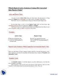 Which Kind of Active Sentences Cannot Be Converted Into Passive Form-English Comprehension-Assignment
