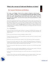 What is the concept of Faith and Obedience in Islam-Islamic Studies-Assignment