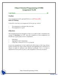 Inheritance, Aggregation and Composition-Object Oriented Programming-Assignment