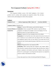 Data Flow Diagrams, Case Model, Post Assignment Feedback-Software Engineering-Handout