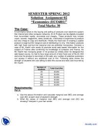 Marginal Cost, Average Cost, E Commerce-Managerial Economics-Assignment Solution