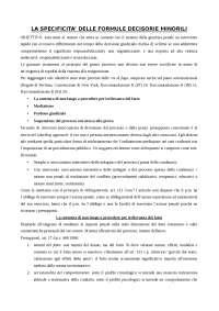 Riassunto di Procedura Penale - la specificità delle formule decisorie minorili