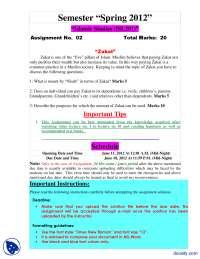Zakat-Islamic Studies-Assignemnt
