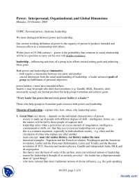 Personal Power-Power Interpersonal, Organizational, and Global Dimensions-Lecture Handout