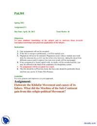 Khilafat Movement-Islamic Studies-Assignemnt