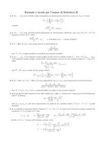 Formulario di Statistica Inferenziale - formule e tavole per l'esame di Statistica II