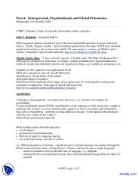 Charisma-Power Interpersonal, Organizational, and Global Dimensions-Lecture Handout
