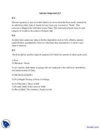 Zakat-Islamic Studies-Assignment Solution