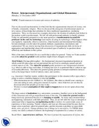 Transformations-Power Interpersonal, Organizational, and Global Dimensions-Lecture Handout
