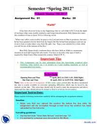 Faith-Islamic Studies-Assignemnt