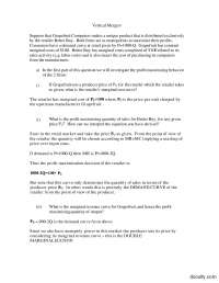 Vertical Mergers-Applied Economics-Aassignments-Solution