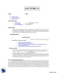 Faith-Fundamentals of Islam-Lecture Notes