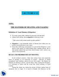 The Manners of Meeting And Talking-Fundamentals of Islam-Lecture Notes