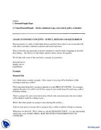Supply  Demand And Equilibrium-Applied Economics-Handouts
