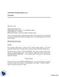 Demand And Supply Curves,  Monopoly-Applied Economics-Handouts