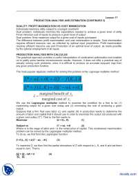 Production Analysis And Estimation  Continued 3-Managerial Economics-Lecture Notes