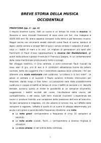 Appunti di Musica - BREVE STORIA DELLA MUSICA OCCIDENTALE