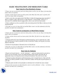 Basic Negotiation And Mediation Tasks-Confilict Management-Handouts
