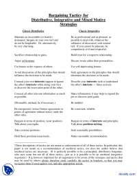 Bargaining Tactics For Distributive, Integrative And Mixed Motive Strategies-Confilict Management-Handouts