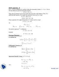 Shift Operator E-Numerical Analysis-Lecture Handouts