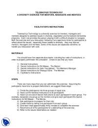 A Diversity Exercise For Mentors, Managers And Mentees-Confilict Management-Lecture Notes