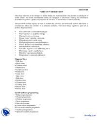 Types Of Tv Production-Reporting and Production-Handouts