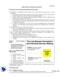 The Link between Perception and Individual Decision Making-Organizational Behaviour-Lecture Handout