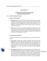 Software Development Fundamentals, Problems in Softwares-Software Project Management-Lecture Notes